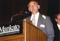 Dean Turner speaking at retirement banquet located in the Centennial Student Union. Mankato State University, June 1, 1989.