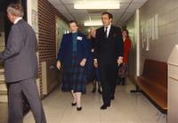 Margaret R. Preska (L) and former Minnesota governor Rudy Perpich (R) walking in Morris Hall, Mankato State University