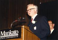 Male speaking at the retirement banquet located in the Centennial Student Union. Mankato State University, June 1, 1989.