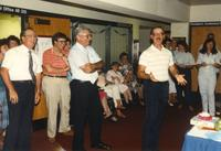 Male making an announcement at Donna Evans retirement. Mankato State University, August 03, 1989.