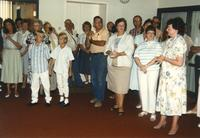 Group of people at Donna Evans retirement. Mankato State University August 03, 1989.