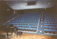 Piano on stage, Seating in Recital Hall, Performing Arts Center, 1988, Mankato State College