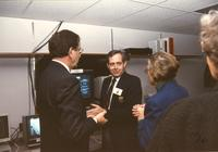 Former Minnesota governor Rudy Perpich (L), Carl R. (M), communicating with Margaret R. Preska (R), Mankato State University