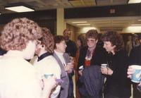 Unidentified men and women at the Memorial Library addition dedication party; Mankato State University; 1990