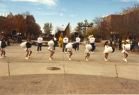 Mankato's cheer squad cheering in front of the Fountain during Homecoming Week, Mankato State University.