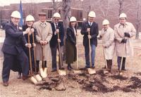 Margaret Preska (second left) and seven other unidentified men and women holding shovels for the Memorial Library addition dedication; Mankato State University; 1990