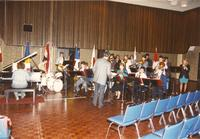 Professor Tom Giles and Jazz Band getting ready to perform in the Centennial Student Ballroom, Mankato State University, 1989