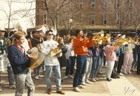 MSU band students perform outside of Armstrong Hall for Homecoming Showdown week, Mankato State University