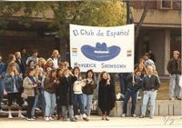 The El Club de Espanol stands outside of Armstrong Hall cheering on their members for Maverick Showdown for Homecoming, Mankato State University