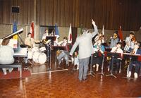 Professor Tom Giles directing the Jazz Band in the Centennial Student Union Ballroom, Mankato State University, 1989