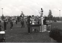 Waseca Marching Band performing during the 1989 MSU football game at Blakeslee Stadium; Mankato State University; 1989