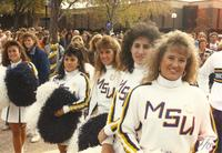 MSU's cheer squad waits for their turn to cheer on MSU outside of the Centennial Student Union, Mankato State University