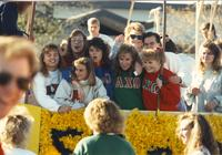 Alpha Chi Omega sorority group hanging out during Homecoming week, Mankato State University