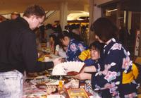 People sharing and displaying items, Mankato State University International Festival, 04-06-1991.