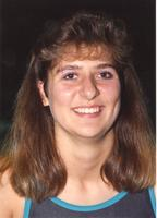 Unidentified Mankato State University female swimmer. October 3, 1990.