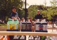 Students at Mankato State University engaging in outside activities near Nelson Hall, 1991-05-15.
