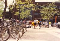 Students waiting in line for some Domino's pizza at Mankato State University, 1991-05-15.