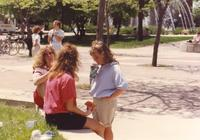 A group of female students hanging out for lunch near Armstrong Hall at Mankato State University, 1991-05-15.