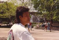 A student on campus at Mankato State University caught off guard, 1991-05-15.