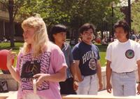 A group of friends hanging out at Mankato State University, 1991-05-15.