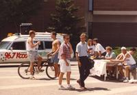 Delta Tau Delta tabling near Nelson Hall at Mankato State University, 1991-05-15.