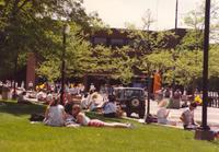 Students relaxing on campus at Mankato State University, 1991-05-15.