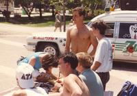 Delta Tau Delta tables outside near Nelson Hall at Mankato State University, 1991-05-15.