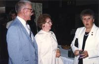 Dr. and Mrs. Hatfield and M. Hodapp at Mankato State University, 1988?.