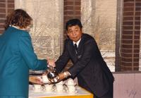 Former university president, Margaret R. Preska, with Japanese visitors at Mankato State University, 1989-01-26.