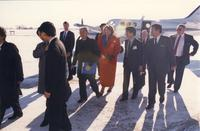 Former university president, Margaret R. Preska, with Japanese guest at Mankato State University, 1989-01-26.