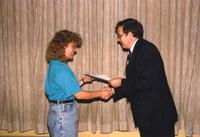 Community service award in Centennial Student Union at Mankato State University. 05-16-89.