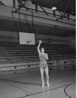 Mankato State College, Jim Dahl, Student Basketball player, action shot, December 3, 1957.