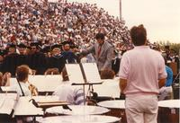 Band playing during commencement at Mankato State University, 1990-06-08.