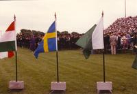 The Backdrop flags at commencement, Mankato State University, 1990-06-08.