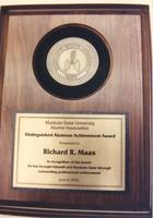 A plaque presented to Richard R. Maas at Mankato State University, 1990-06-08.