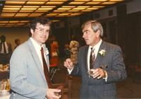 Roger and Richard at the Distinguished Alumni Lunch at Mankato State University, 1990-06-08.