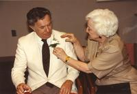 A woman and Dr. Clayton Teide at Mankato State University, 1990-05-31.
