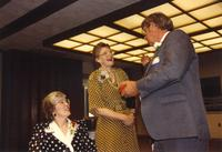 Former university president, Margaret R. Preska, at the Retirement Banquet at Mankato State University, 1990-05-31.