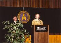 Former university president, Margaret R. Preska, giving a speech at the Retirement Banquet at Mankato State University, 1990-05-31.