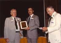 Jones, Gerald Stiles and Dr. Tran at the retirement banquet at Mankato State University, 1990-05-31.