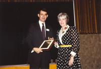 Phil Meyer and Sherily Johnson at Mankato State University, 1990-05-31.