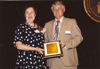 Dr. Marge Ulrech and Duane Orr at Mankato State University, 1990-05-31.