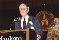 Russell Amling and former university president, Margaret R. Preska, at Mankato State University, 1990-05-31.