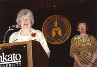 Dr. Aileen Eich (Left) and former university president, Margaret R. Preska, (Right) at Mankato State University, 1990-05-31.