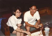 Students enjoying lunch at Mankato State University, 1990-05-31.