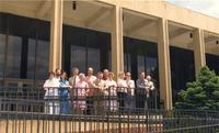 Mankato State University Music Department outside of Earley Center for Performing Arts, 1989-06-01.