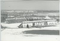 A picture of the Mankato State University Blakeslee football stadium covered with snow, 1980s.