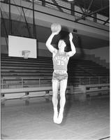 Mankato State College, MSC's college basketball player practicing, March 13, 1958